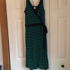 Kelly green and navy striped dress